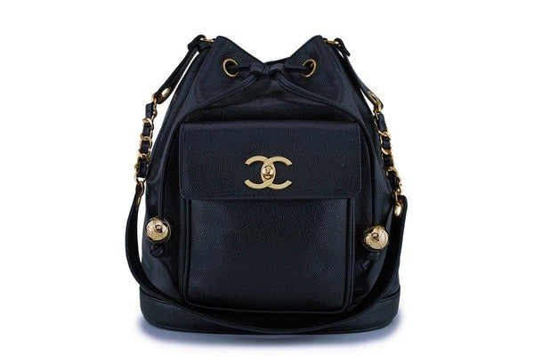 Rare Chanel Vintage Black Caviar Drawstring Bucket Bag 24k GHW