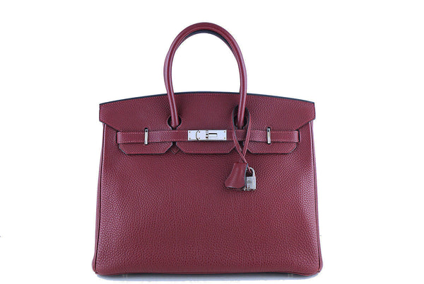 Hermes Red Rouge H 35cm Birkin Bag, Clemence PHW