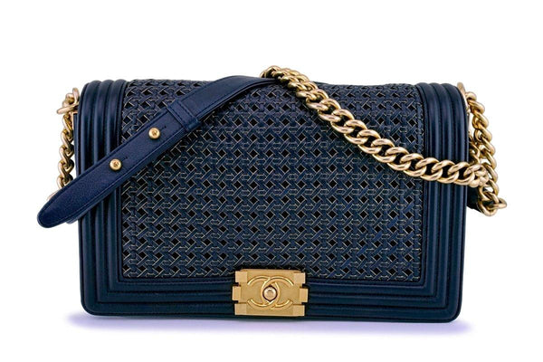 Chanel Navy Blue Gold-Trimmed Woven Boy Flap Bag