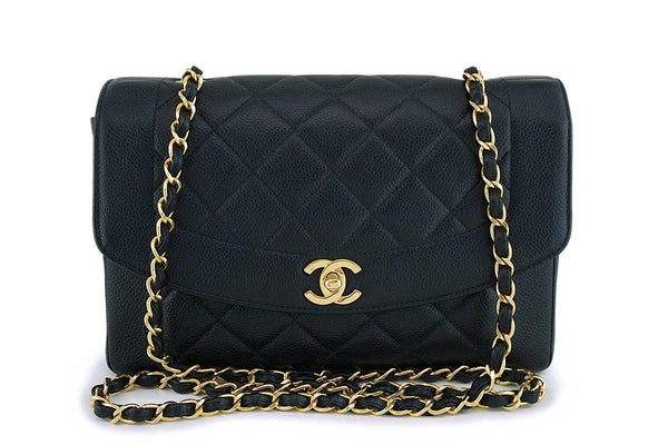 Rare Chanel Vintage Black Caviar Medium Pocket Diana Classic Flap Bag 24k GHW