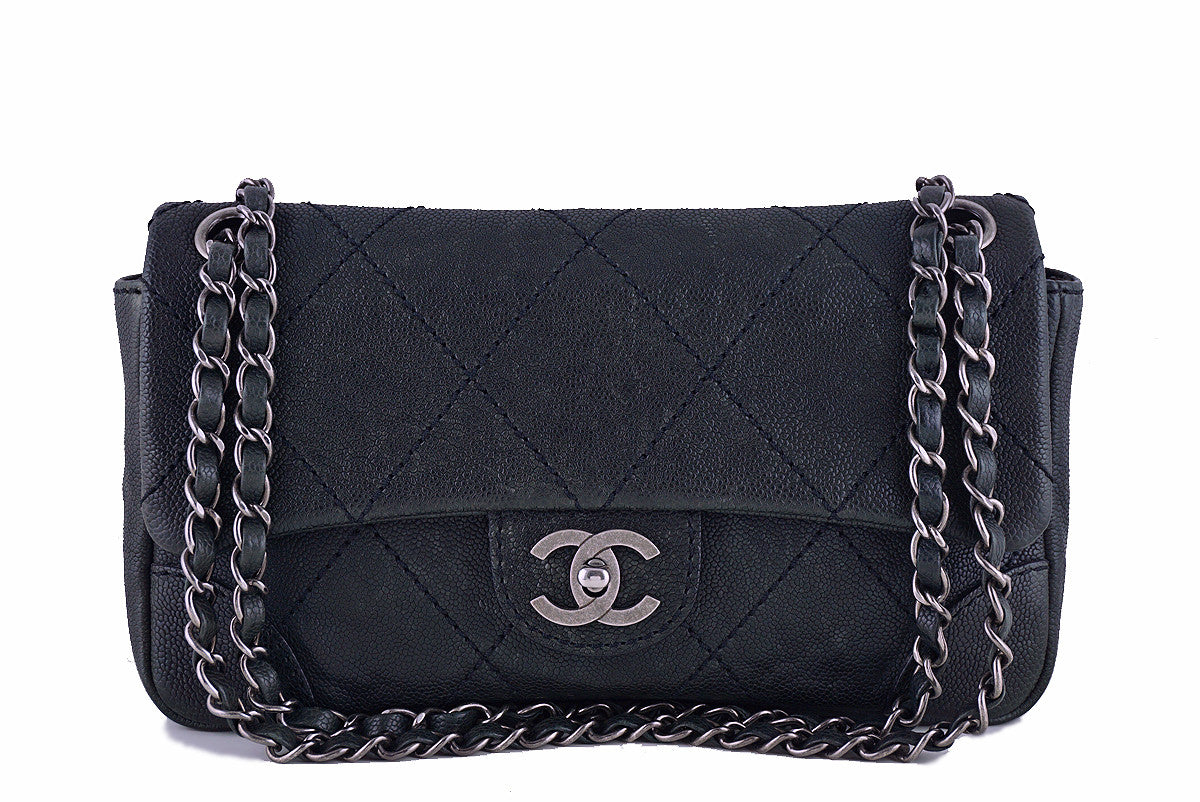 Chanel Black Distressed Caviar Outdoor Ligne Classic Flap Bag