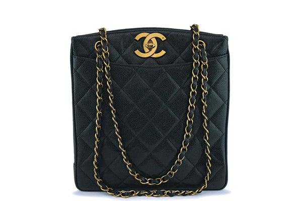 Chanel Vintage Black Caviar Tall Classic Shopper Tote Bag 24k GHW