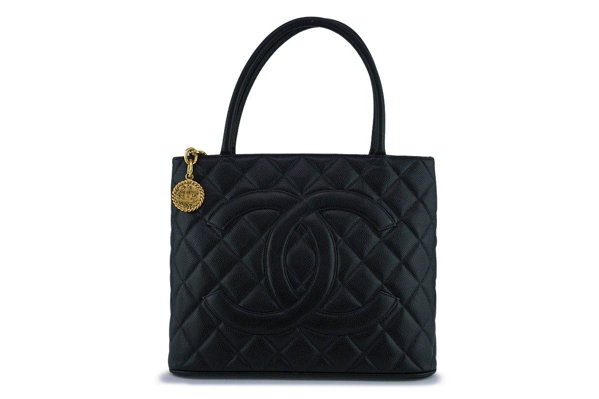 Chanel Black Caviar Classic Quilted Medallion Shopper Tote Bag GHW