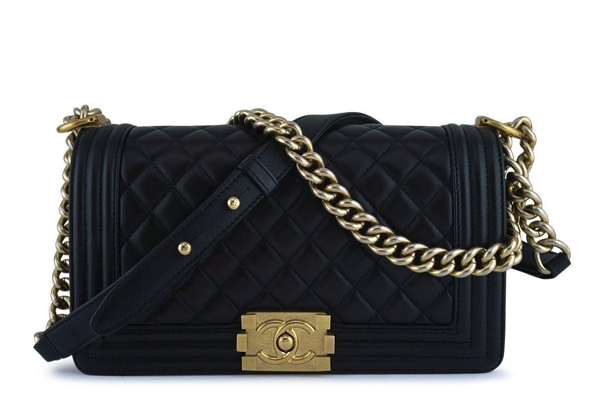 Chanel Black Boy Classic Flap, Medium Lambskin Bag GHW