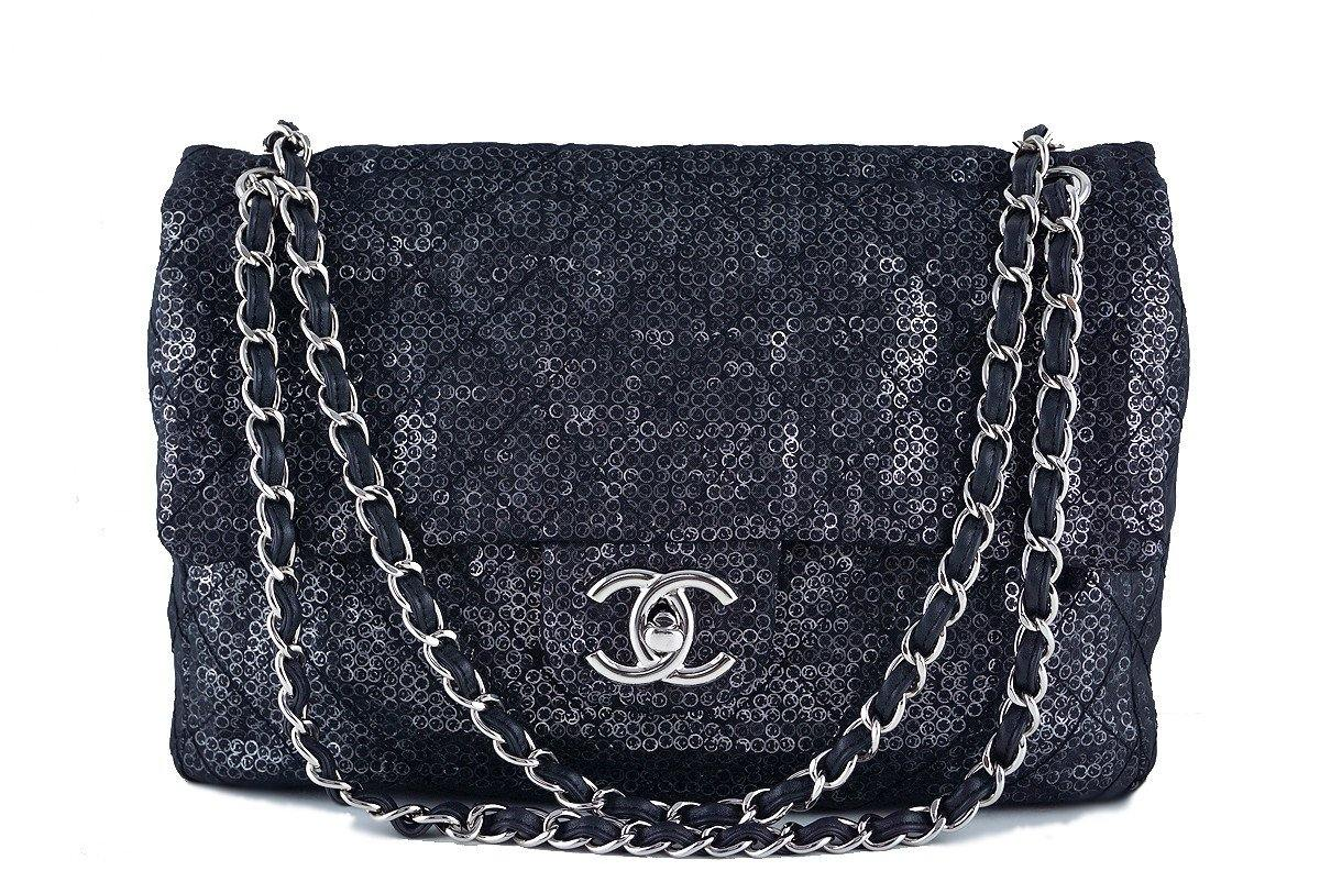 Chanel Black 13in. Maxi Quilted Sequin Classic 2.55 Jumbo XL Flap Bag