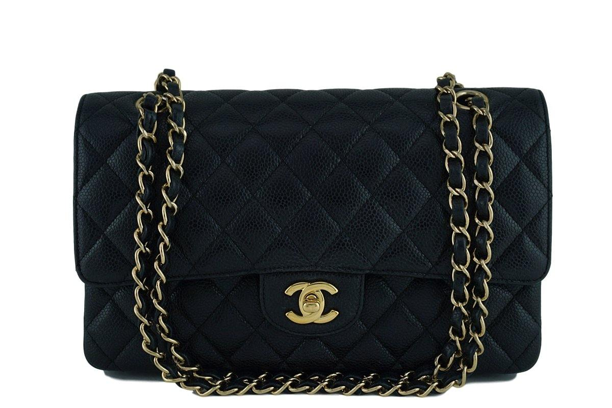 Chanel Black Caviar Medium Classic 2.55 Double Flap Bag 18k Gold Plated