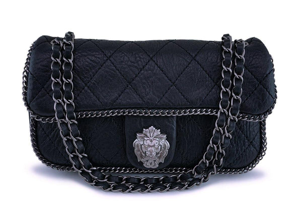 Rare Chanel Black Leo the Lionhead Pebbled Quilted Flap Bag RHW