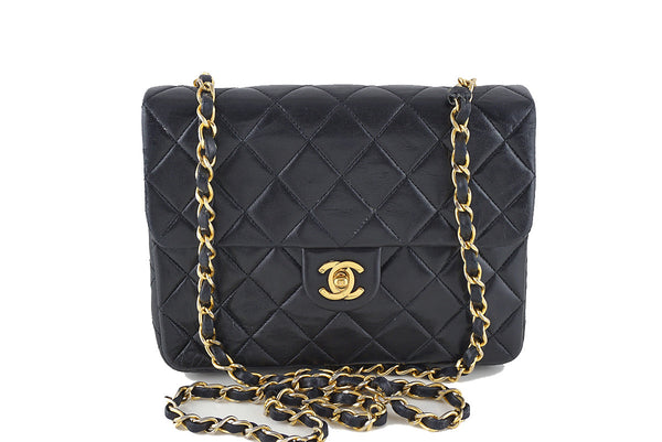 Chanel Vintage Black Lambskin Small Classic Quilted Flap Bag