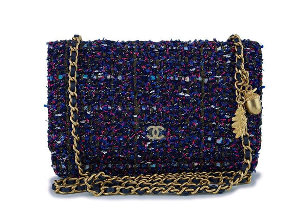 NIB 18K Chanel Purple Tweed Wallet on Chain w Charms WOC Mini Flap Bag GHW f90406be97ccb