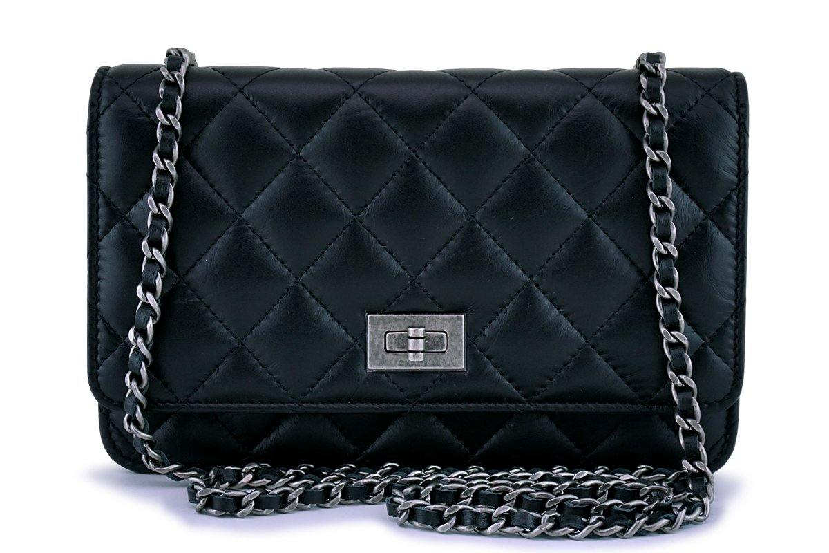 New Chanel Black Classic Reissue WOC Wallet on Chain Bag RHW 62845
