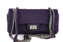 xChanel Purple Crocodile Canvas Quilted East West 2.55 Reissue Flap Bag - Boutique Patina  - 1