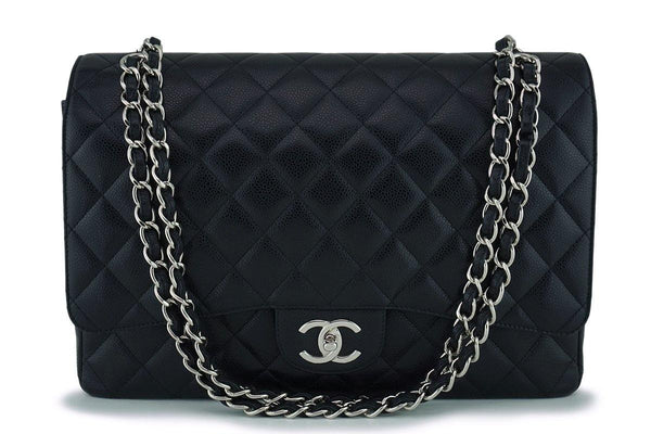 "Chanel Black Caviar Maxi ""Jumbo XL"" Classic Double Flap Bag SHW"