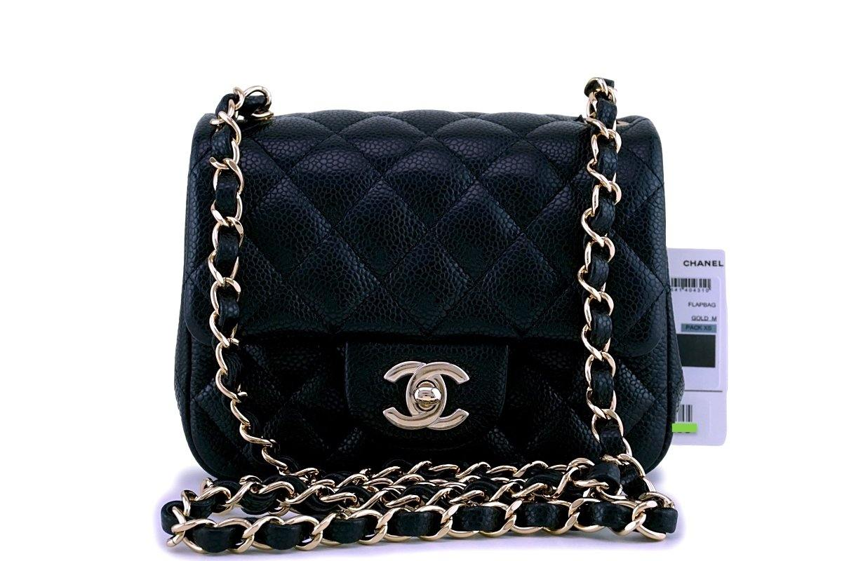 01118fe626e6b0 Chanel Black Quilted Caviar Leather Mini Square Classic Flap Bag ...
