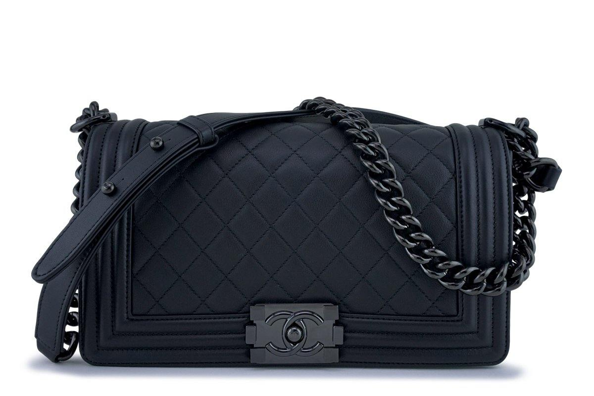 189da799610395 New 18C Chanel So Black Boy Classic Medium Flap Calfskin Bag