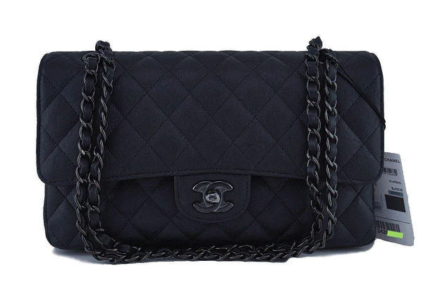 NWT 17S Chanel So Black Medium-Large Classic 2.55 Double Flap Bag