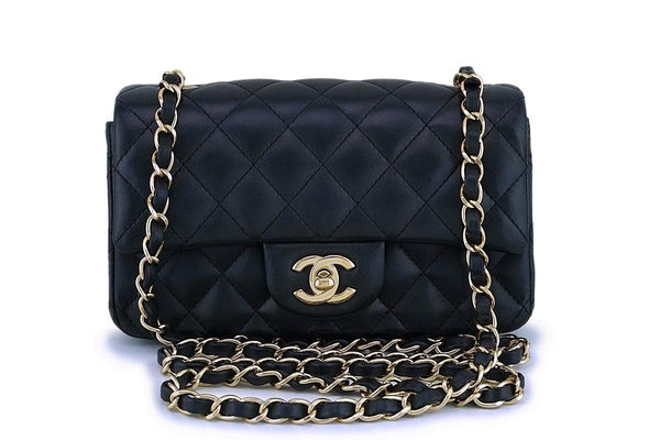 Chanel Black Lambskin Rectangular Mini Classic Flap Bag GHW