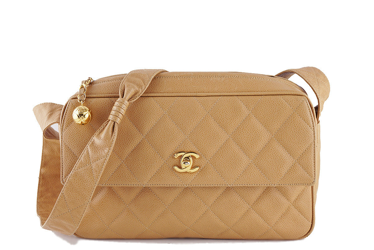 Chanel Vintage Beige Caviar Classic Quilted Flap Camera Purse Bag
