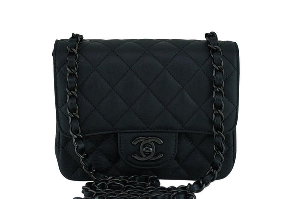 Rare Chanel So Black Classic Quilted Square Mini 2.55 Flap Bag