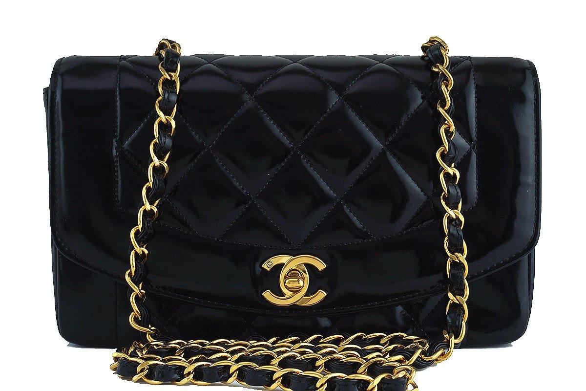 "Chanel Black Patent Vintage Quilted Classic ""Diana"" Shoulder Flap Bag"