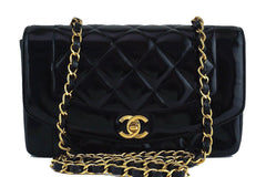 Chanel Black Patent Vintage Quilted Classic