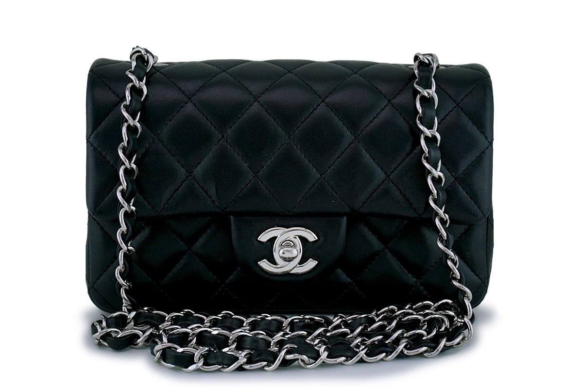 Chanel Black Classic Quilted Rectangular Mini Flap Bag SHW