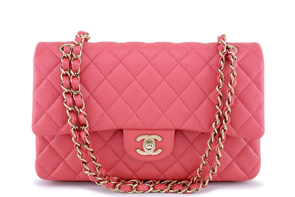 New 18S Chanel Pearly Pink Caviar Medium Classic Double Flap Bag