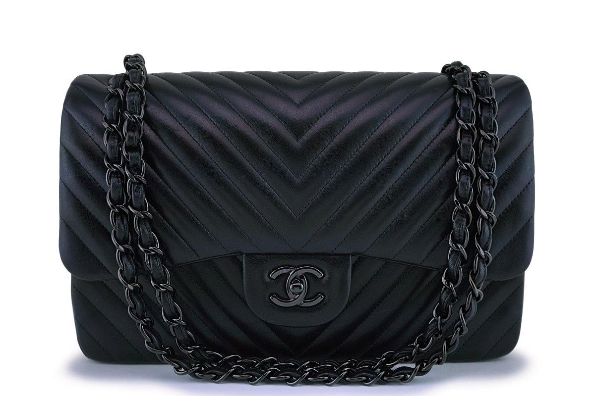 Chanel So Black Chevron Lambskin Jumbo Classic Double Flap Bag