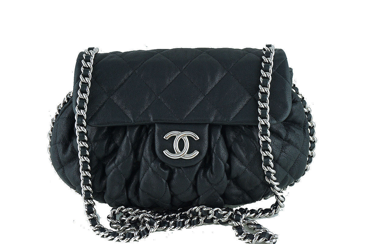 Chanel Black Large Chain Around Rounded Classic Flap Cross Body Bag