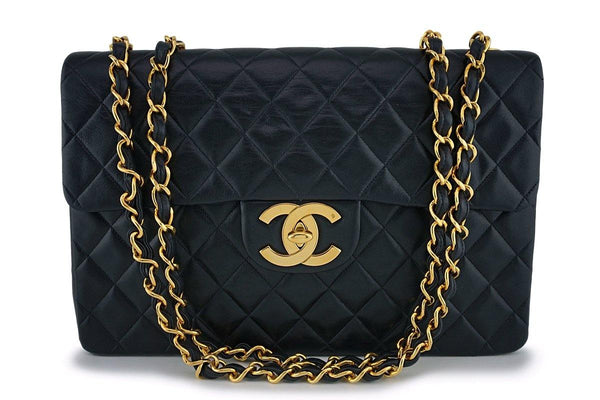 "Chanel Vintage Black Maxi ""Jumbo XL"" Classic Flap Bag 24k GHW"