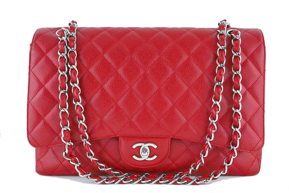 Chanel 10C Red Caviar Maxi Quilted Classic 2.55 Jumbo XL Flap Bag - Boutique Patina  - 1