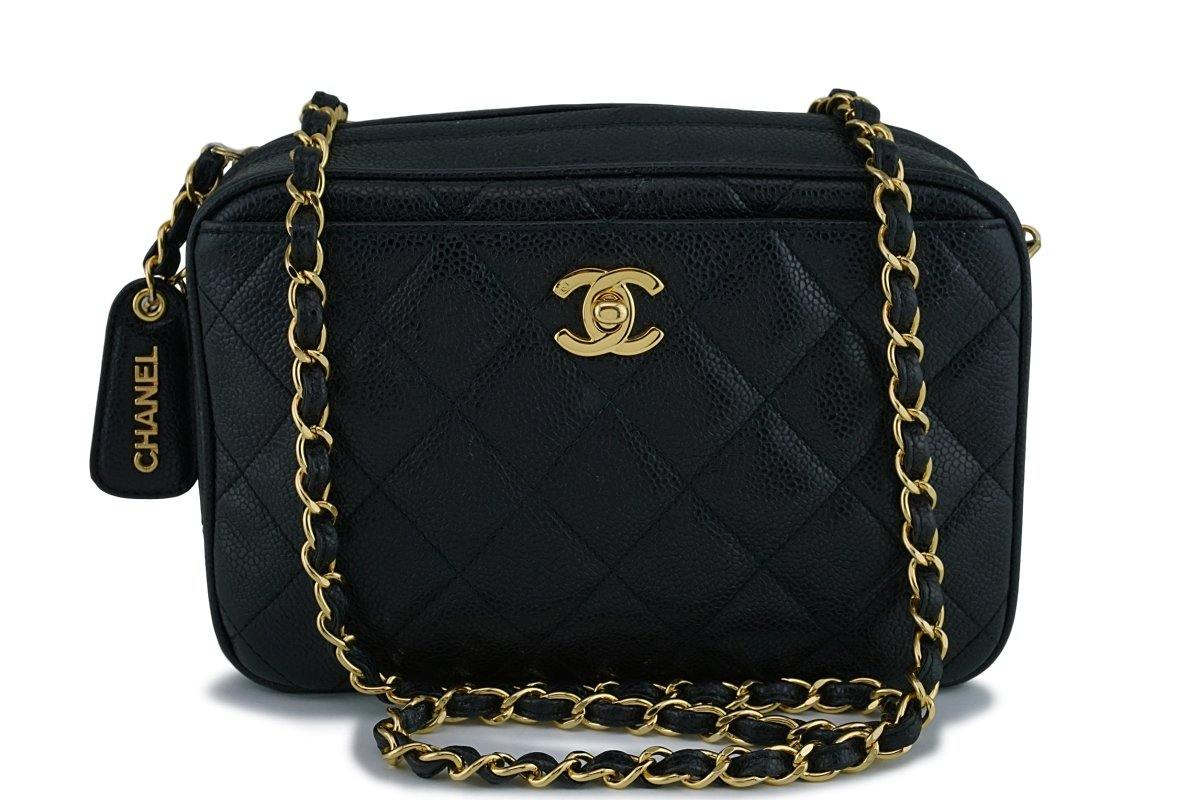 Chanel Vintage Black Quilted Caviar Classic Camera Case Bag GHW