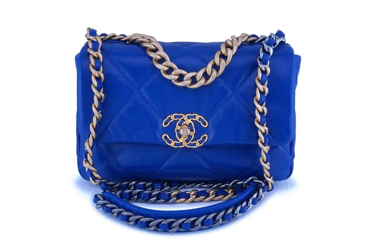 NIB 20P Chanel Blue Chanel 19 Small Flap Bag GHW