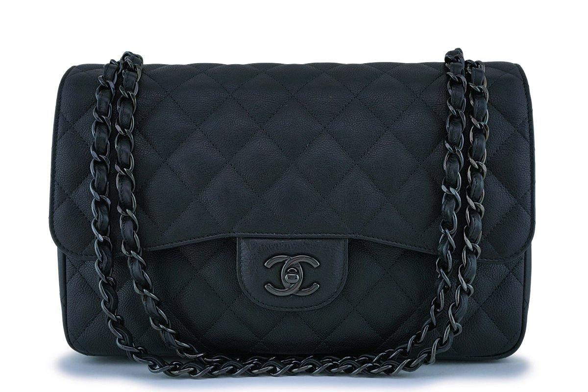 0d56dbab2ea9 Rare Chanel So Black Crumpled Calf Jumbo Classic Double Flap Bag