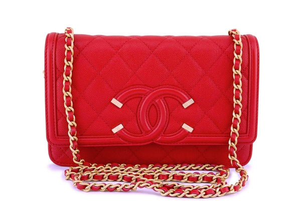 NWT 18P Chanel Red Caviar Filligree WOC Wallet on Chain Flap Bag