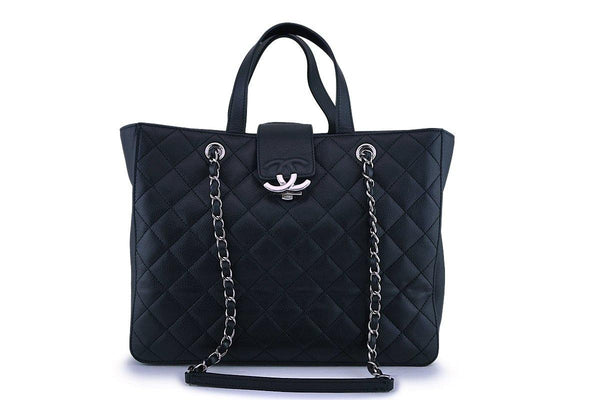 Chanel Black Quilted Caviar 2-Way Clasp Tote SHW