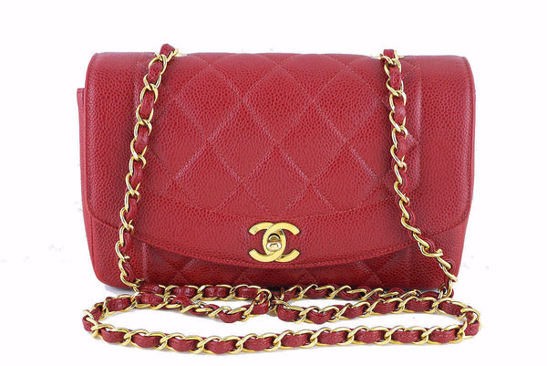 "Chanel Red Caviar Vintage Quilted Classic ""Diana"" Flap Bag"