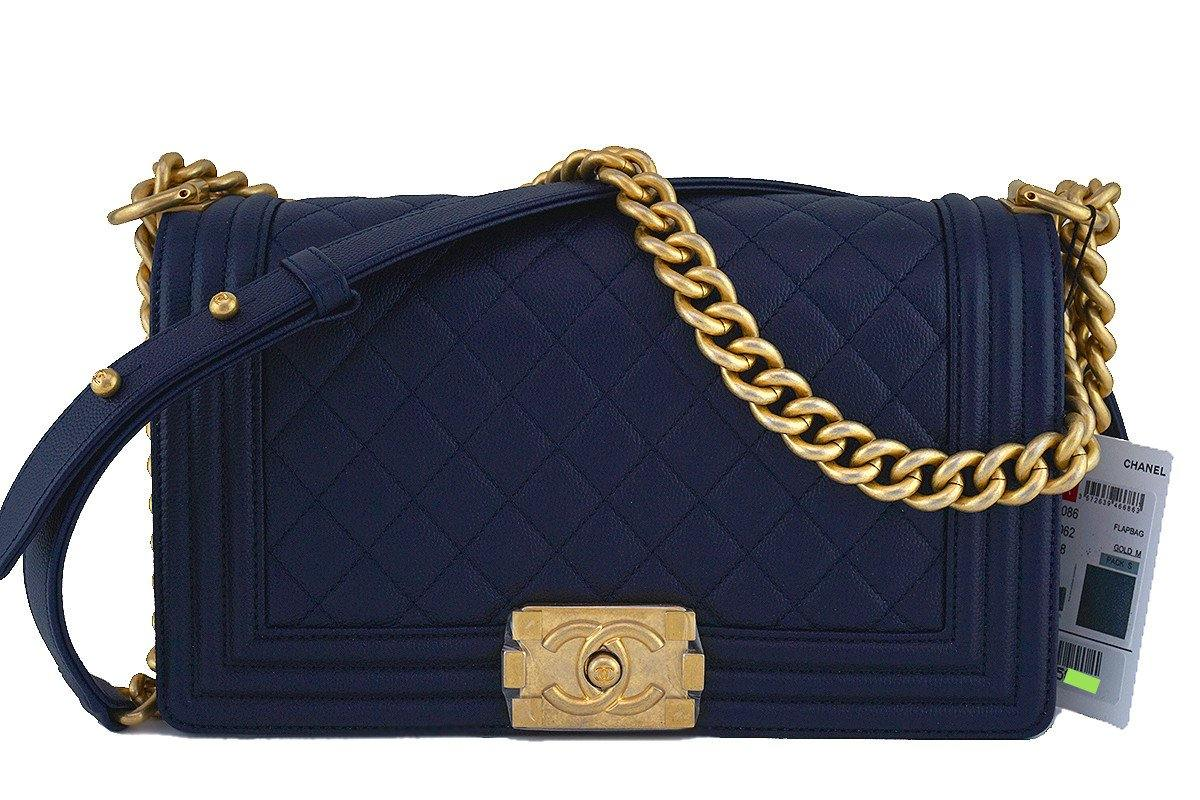 1ac3c550cc9d7c NWT 17A Chanel Navy Blue Le Boy Classic Flap, Medium Caviar Bag