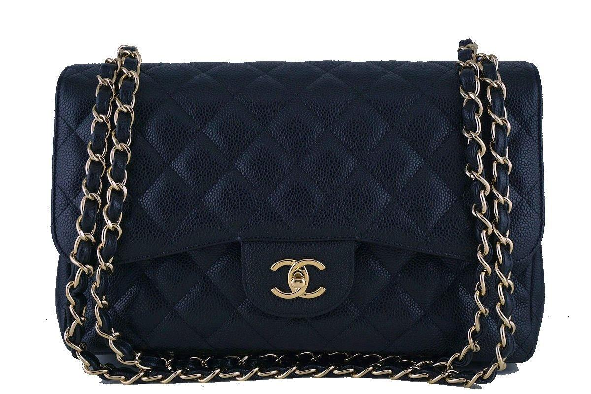 Chanel Black Caviar Jumbo 2.55 Classic Double Flap Bag GHW - Boutique Patina  - 1