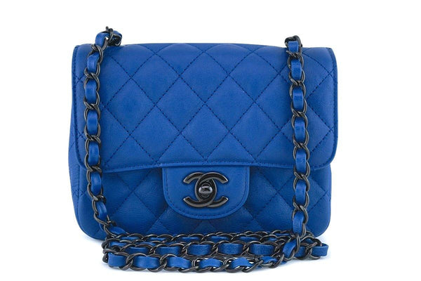 01724f32424 Chanel Blue Classic Quilted Square Mini 2.55 Flap Bag Black HW
