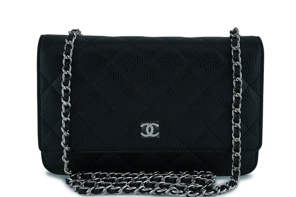 fd122ccb5040 Chanel Black Caviar Classic Quilted WOC Wallet on Chain Flap Bag ...