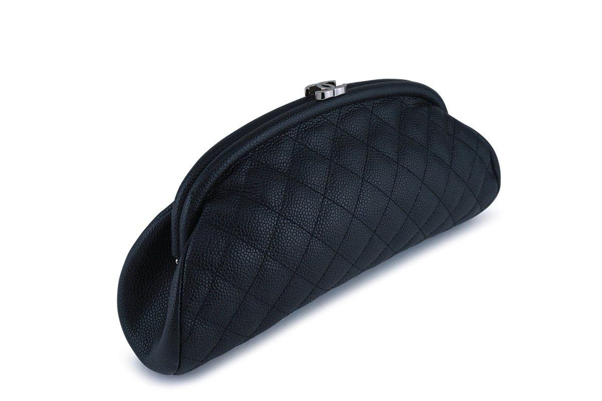Chanel Black Caviar Timeless Quilted Clutch Bag