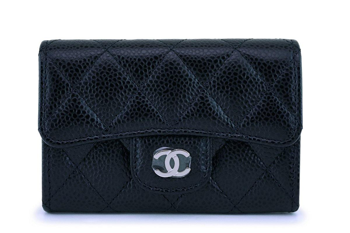 NIB Chanel Black Caviar Classic Card Holder Wallet Case SHW