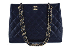 Chanel Dark Navy Blue Classic Quilted Shopper Tote Bag GHW