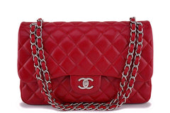 12A Chanel Red Caviar Jumbo Classic Double Flap Bag SHW
