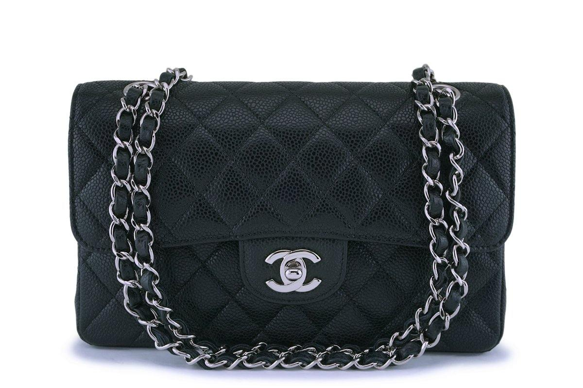 Chanel Black Small Caviar Classic Double Flap Bag SHW