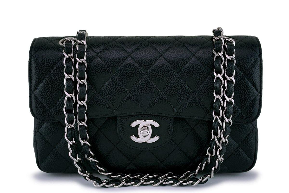 Chanel Black Caviar Small Classic Double Flap Bag SHW