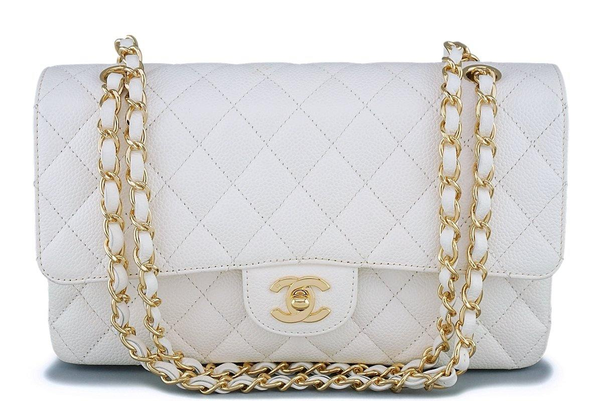 Chanel White Caviar Medium Classic Double Flap Bag 24k GHW - Boutique Patina