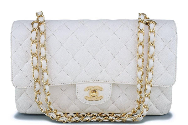 Chanel White Caviar Medium Classic Double Flap Bag 24k GHW