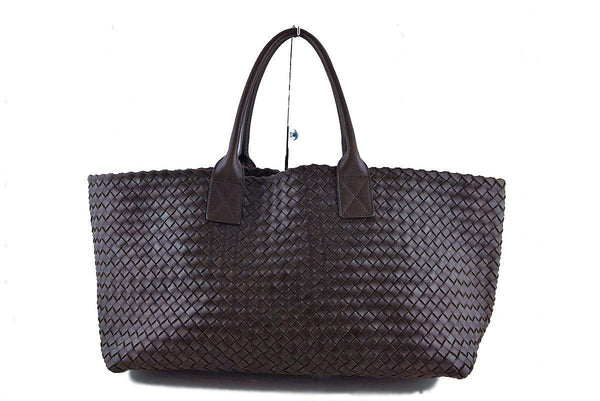 Bottega Veneta Ebano Interciatto Medium Cabat Tote Bag