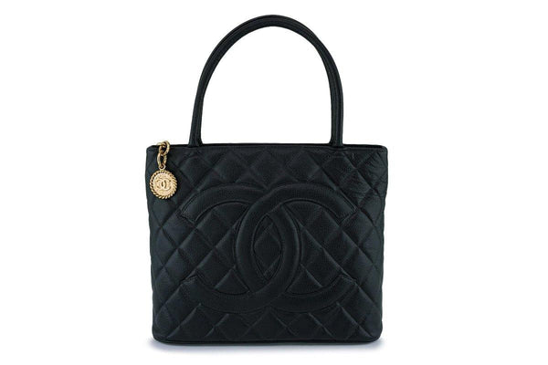 be4b45a10becde Chanel Vintage Black Caviar Classic Medallion Shopper Tote Bag GHW